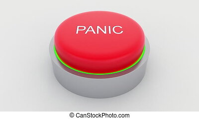 Big red button with panic inscription being pushed....