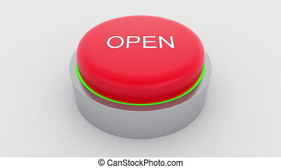Big red button with open inscription being pushed....