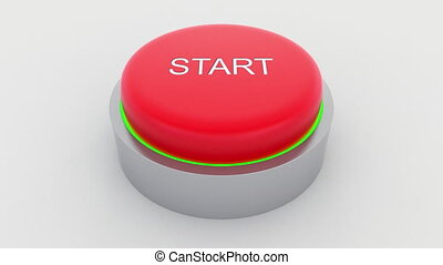 Big red button with start inscription being pushed.