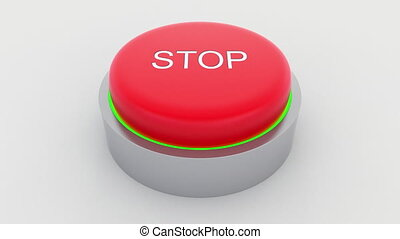 Big red button with stop inscription being pushed.