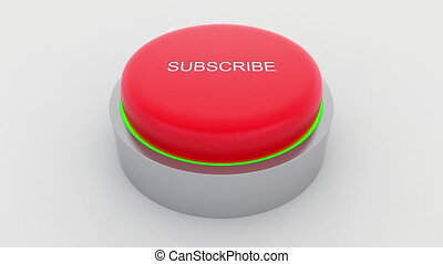 Big red button with subscribe inscription being pushed.