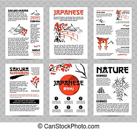 Banners or posters set with asia landscapes, buildings and blossoming sakura branch in traditional japanese sumi-e style.