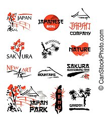 Logo templates set with asia landscapes, buildings and blossoming sakura branches in traditional japanese sumi-e style