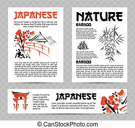 Banners or posters set with asia landscapes, buildings and...