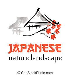 Asian gate, building symbols in traditional japanese sumi-e style. Vector red sign
