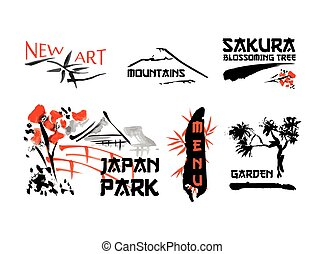 Logo templates set with asia landscapes, buildings and...