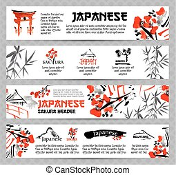 Horizontal website banners set with asia landscapes,...