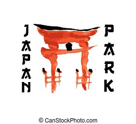 Asian gate, building symbol in traditional japanese sumi-e...