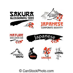 Logo templates set with asia landscapes, buildings and blossoming sakura branch in traditional japanese sumi-e style