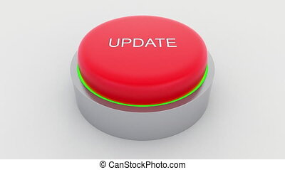 Big red button with update inscription being pushed.