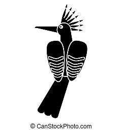 hoopoe bird exotic pictogram vector illustration eps 10