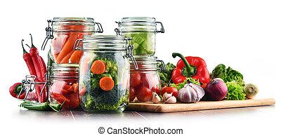marinated, alimento, legumes, isolado, cru, Jarros, branca