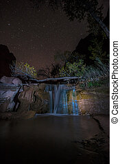 Coyote Gulch Waterfall at Night Grand Staircase Escalante...