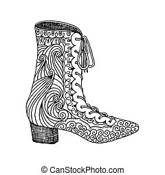 High-heeled shoes for woman. Fashion footwear artwork in shoe style pattern fill.