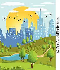 summer city park - Cartoon illustration of a summer city...