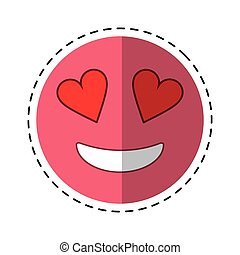 love emoticon style cut line vector illustration eps 10