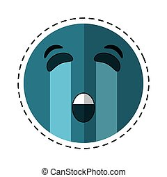 crying emoticon style cut line vector illustration eps 10