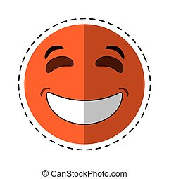 laughing emoticon style cut line vector illustration eps 10