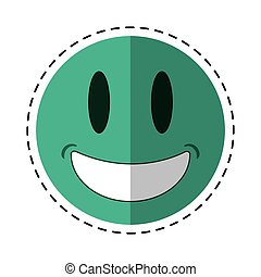 smiling thumbs emoticon style cut line vector illustration...