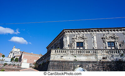 View of the baroque palace Biscari, Catania - View of the...