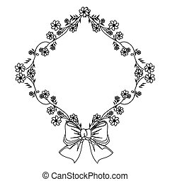 monochrome contour with diamond frame with creepers and flowers and ribbon