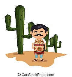 background Cactus with traditional mexican man vector...