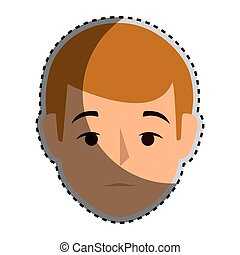 sticker colorful silhouette front view man with brown hair