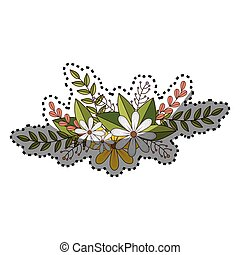 sticker of flowers crown with floral design and leaves