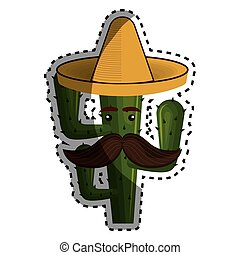 sticker animated cartoon cactus with mexican hat and moustache