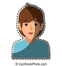 sticker colorful half body woman with short brown hair...