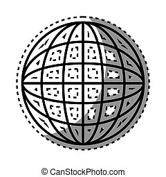 sticker shading silhouette sphere with lines cartographic...