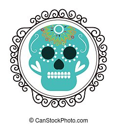 vintage border with decorative ornamental sugar skull vector...