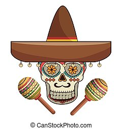 decorative ornamental sugar skull with mexican hat and...