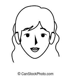 silhouette front view woman with wavy hair vector...