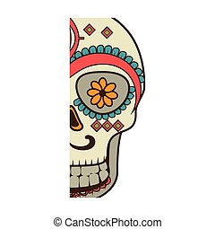 half piece decorative ornamental sugar skull vector...