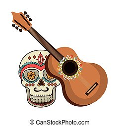 colorful acoustic guitar musical with decorative ornamental...