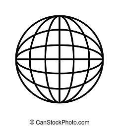 silhouette sphere with lines cartographic vector...