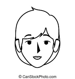 silhouette front view woman with short blond hair vector...