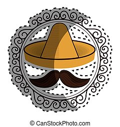 sticker vintage border with hat and moustache mexican...