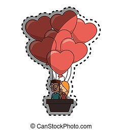 sticker color silhouette with couple in hot-air balloon in shape of hearts