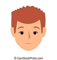 colorful silhouette front view man with redhair vector...