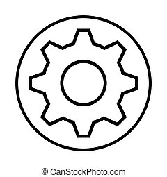 monochrome contour with circular frame with pinion vector...