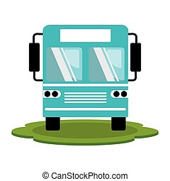 color silhouette of bus front view