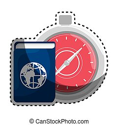 sticker color silhouette with passport and chronometer...