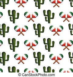 colorful pattern maraca and cactus vector illustration