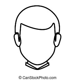 silhouette faceless front view man with hairstyle