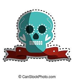 sticker decorative ornamental sugar skull with ribbon vector...
