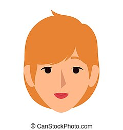 colorful silhouette front view woman with short blond hair...