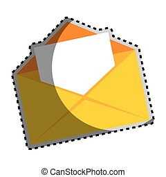 sticker color silhouette with open envelope mail