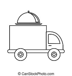 monochrome contour with food truck vector illustration